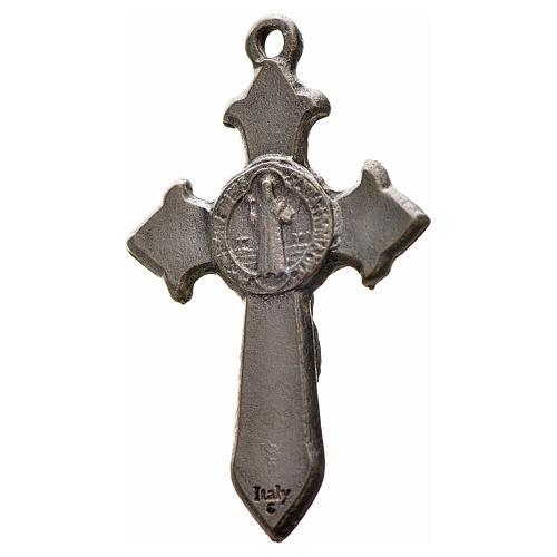 Kreuz Sankt Benedikt Zamak-Legierung schwarzes Email 3,5x2,2 cm