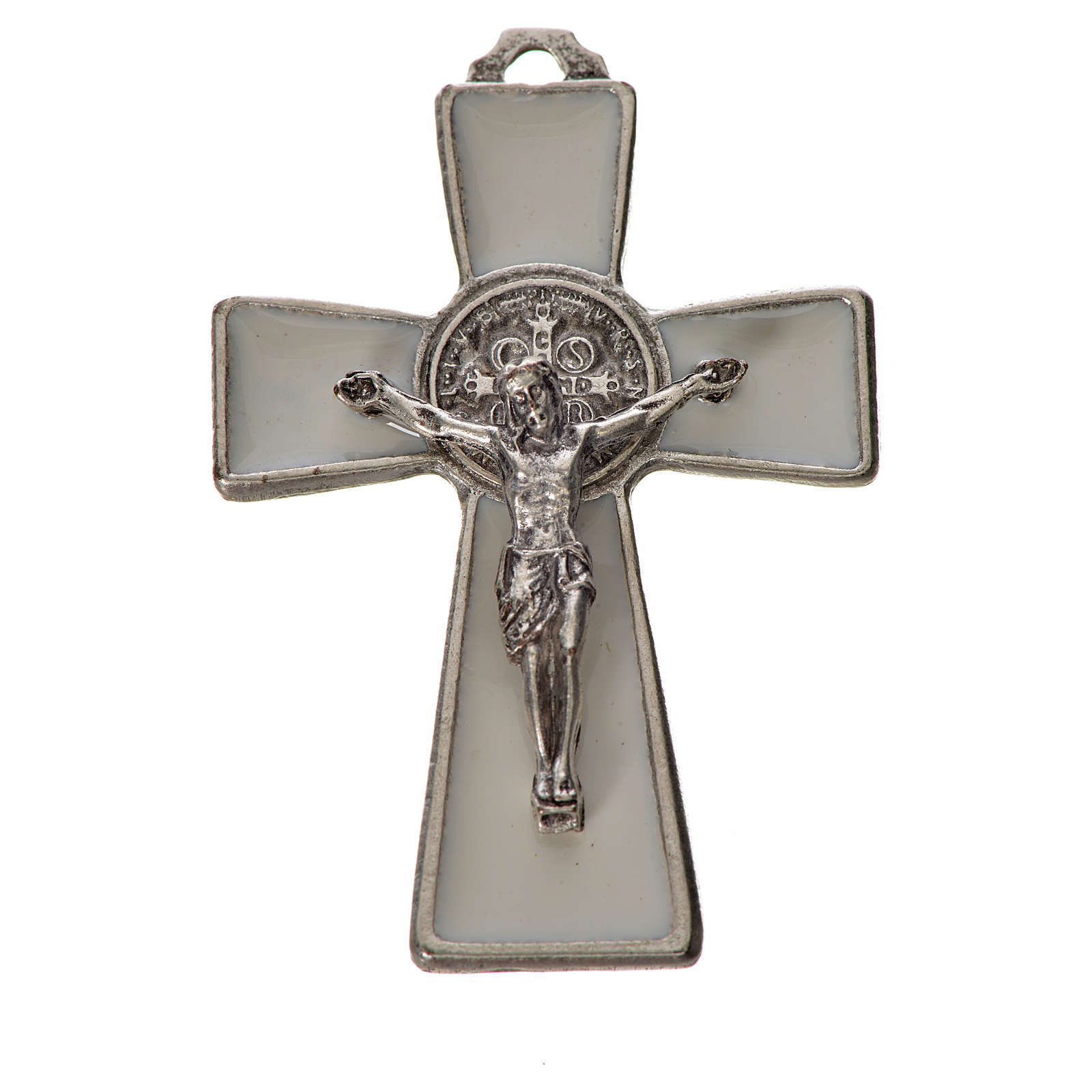 St. Benedict cross 4.8x3.2cm in zamak and white enamel 4