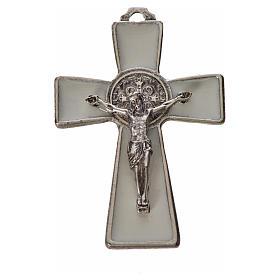 St. Benedict cross 4.8x3.2cm in zamak and white enamel s3