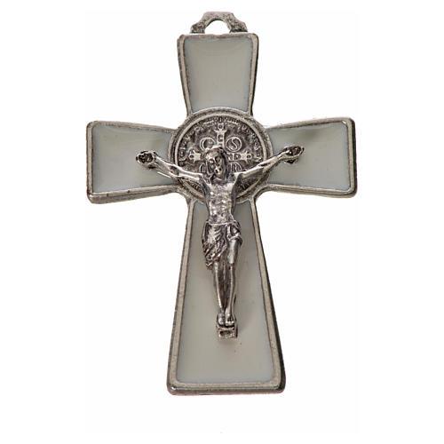 St. Benedict cross 4.8x3.2cm in zamak and white enamel 3