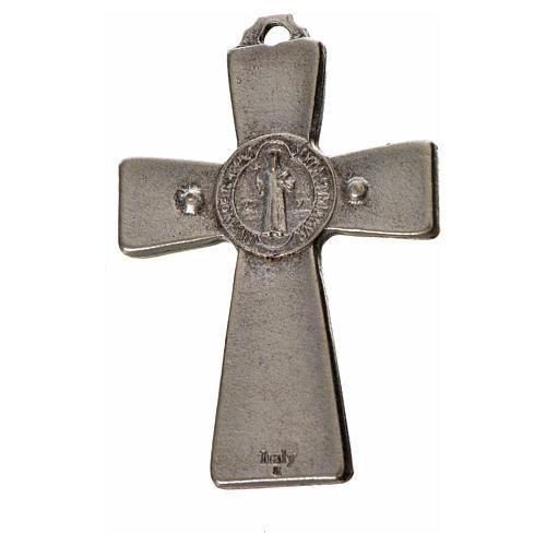 Croce San Benedetto 4.8X3,2 cm zama smalto bianco 4