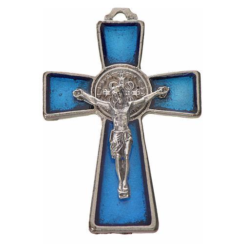 Kreuz Sankt Benedikt Zamak-Legierung und blaues Email 4.8x3.2 cm