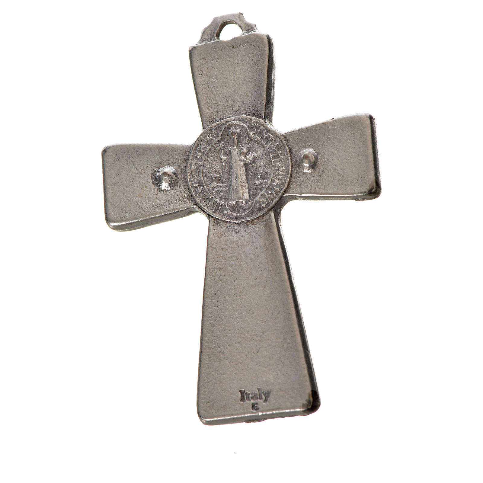 St. Benedict cross 4.8x3.2cm in zamak and blue enamel 4