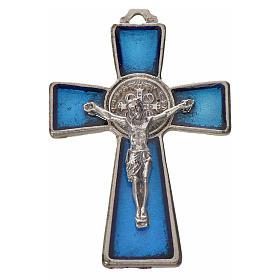 St. Benedict cross 4.8x3.2cm in zamak and blue enamel