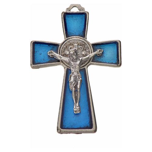 St. Benedict cross 4.8x3.2cm in zamak and blue enamel 3