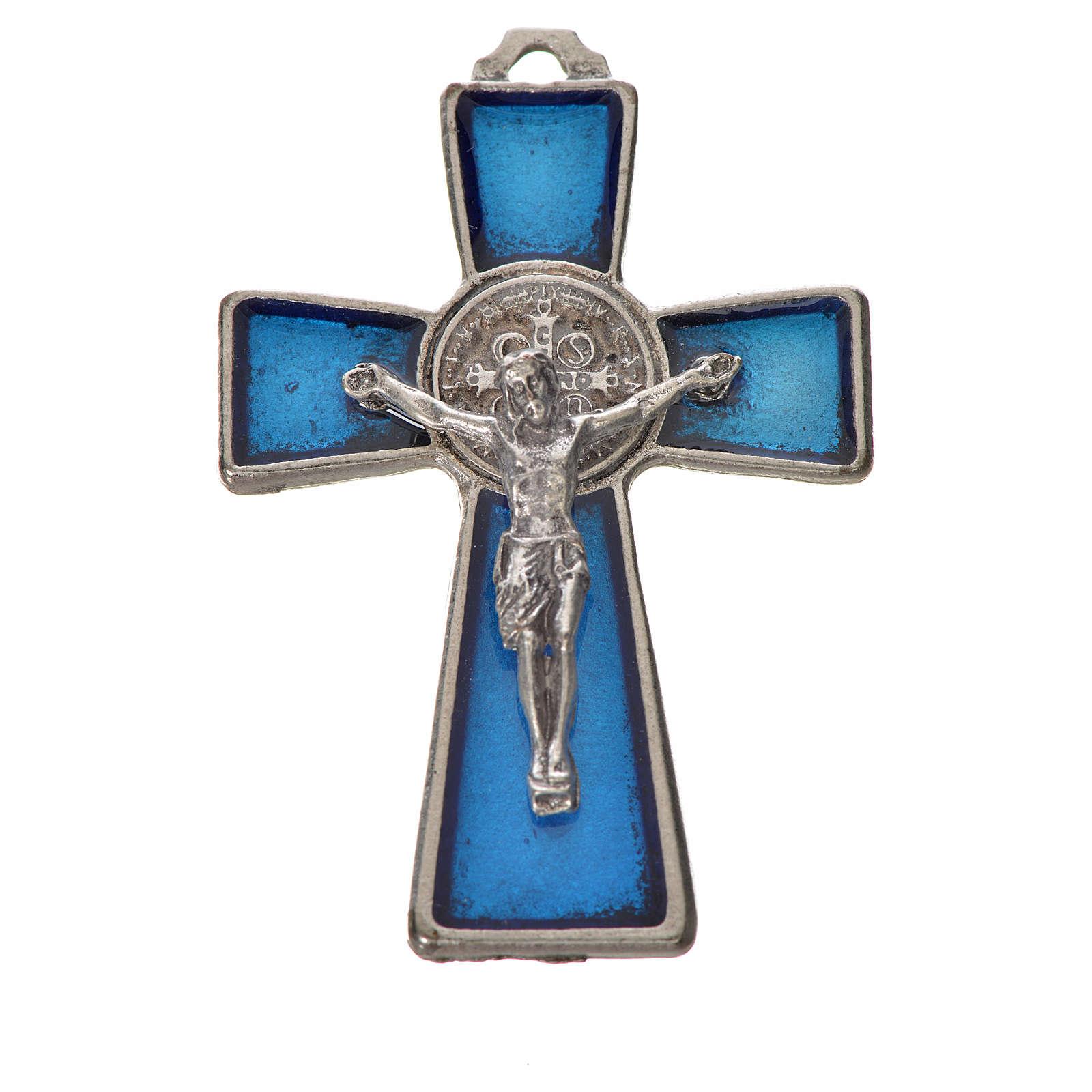 Croce San Benedetto 4.8X3,2 cm zama smalto blu 4