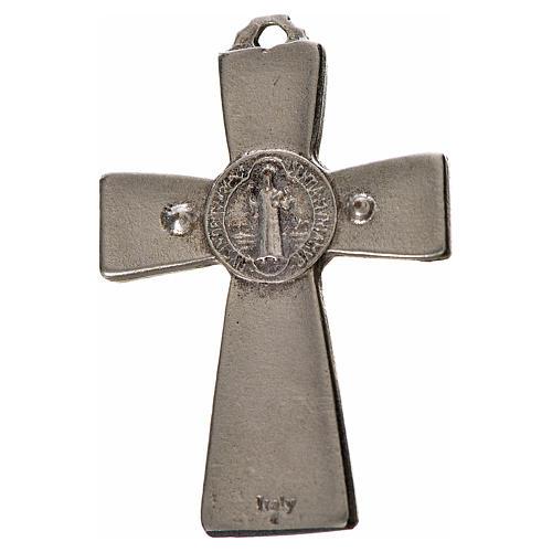 Kreuz Sankt Benedikt Zamak-Legierung schwarzes Email 4.8x3.2 cm