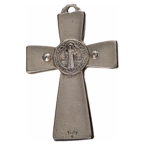 Croix Saint Benoît en zamac émaillé noir 4,8x3,2 cm 2