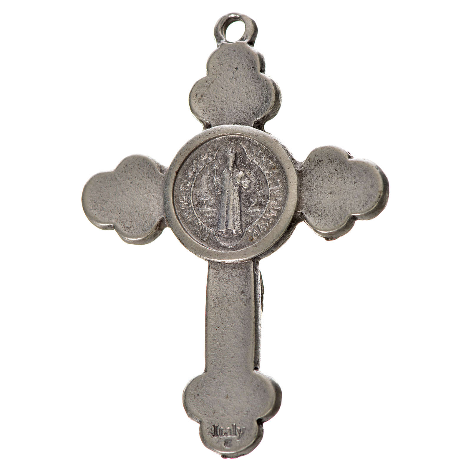St. Benedict cross 4.8x3.4cm, trefoil, in zamak and white enamel 4