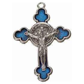 Croix trilobée Saint Benoît en zamac émaillé bleu 4,8x3,4 cm s3