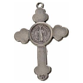 Croix trilobée Saint Benoît en zamac émaillé bleu 4,8x3,4 cm s2