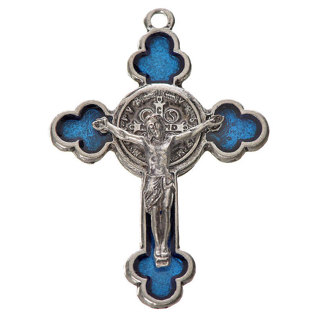 Croce San Benedetto trilobata 4.8X3,4 zama smalto blu 4