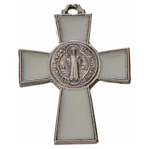 Kreuz Sankt Benedikt Zamak-Legierung und weißes Email 4x3 cm