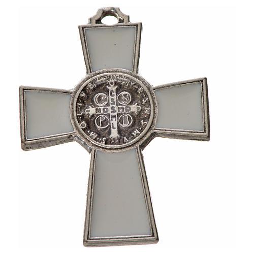 St. Benedict cross 4x3cm, in zamak and white enamel 2