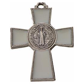 Croix Saint Benoît zamac émaillé blanc 4x3 cm s1