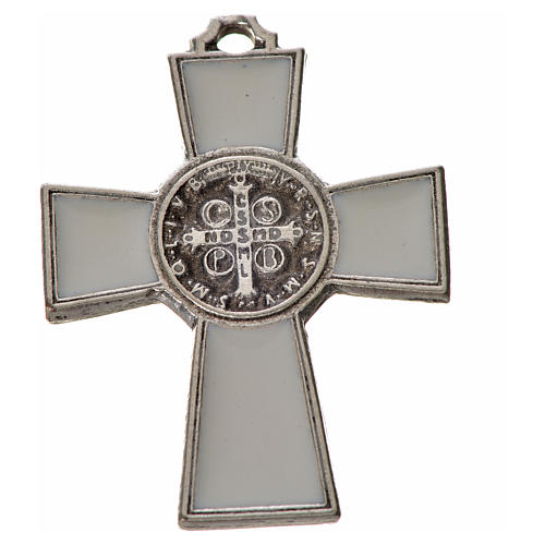 Croix Saint Benoît zamac émaillé blanc 4x3 cm 2