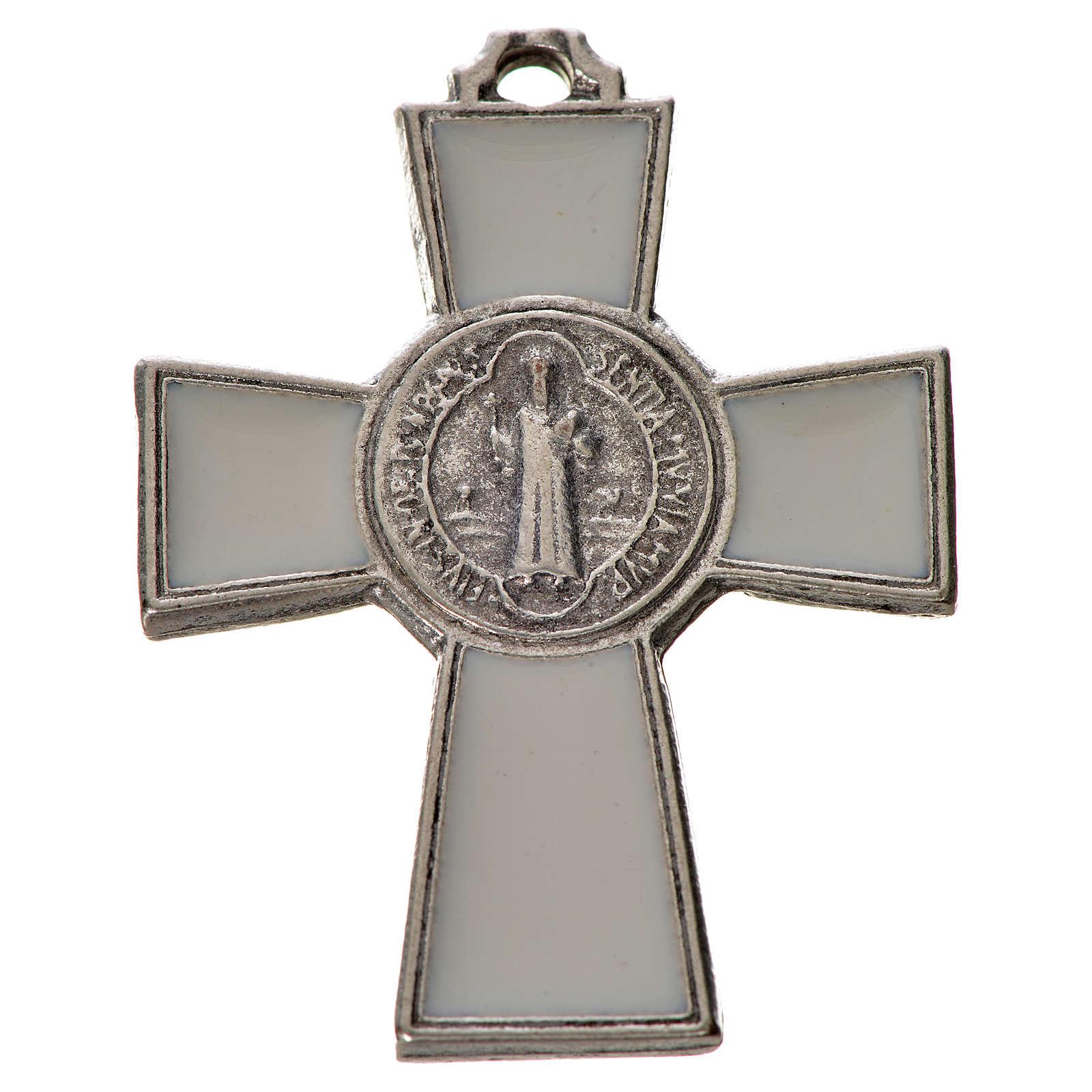 Croce San Benedetto zama 4x3 smalto bianco 4
