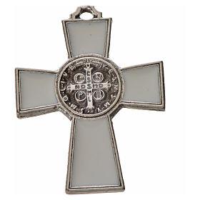 Cruz São Bento zamak 4x3 cm esmalte branco s2
