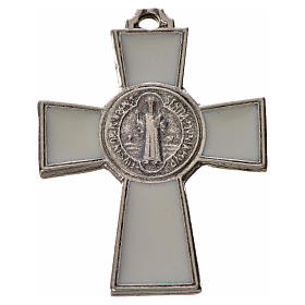 St. Benedict cross 4x3cm, in zamak and white enamel s1