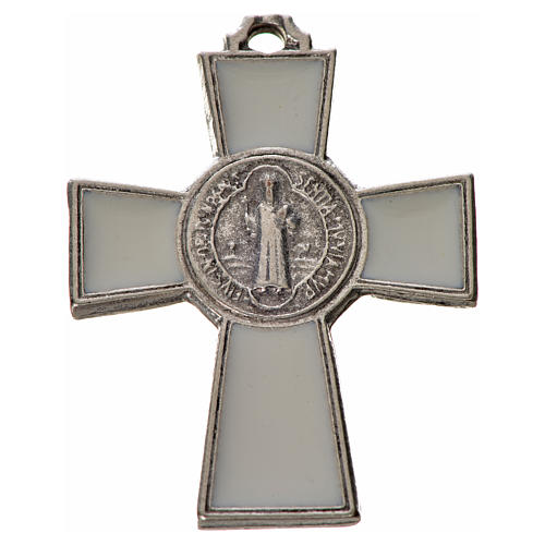 St. Benedict cross 4x3cm, in zamak and white enamel 1