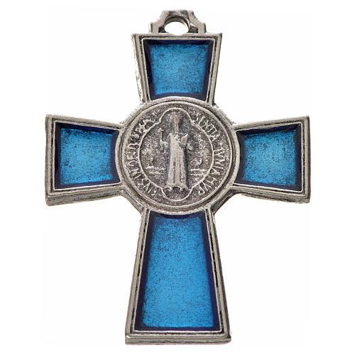 Kreuz Sankt Benedikt Zamak-Legierung und blaues Email 4x3 cm