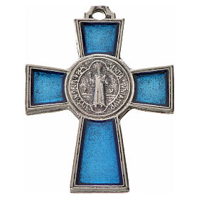 St. Benedict cross 4x3cm, in zamak and blue enamel s1
