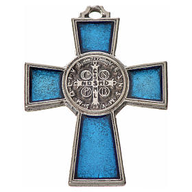 St. Benedict cross 4x3cm, in zamak and blue enamel s2