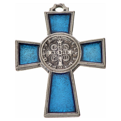 St. Benedict cross 4x3cm, in zamak and blue enamel 4