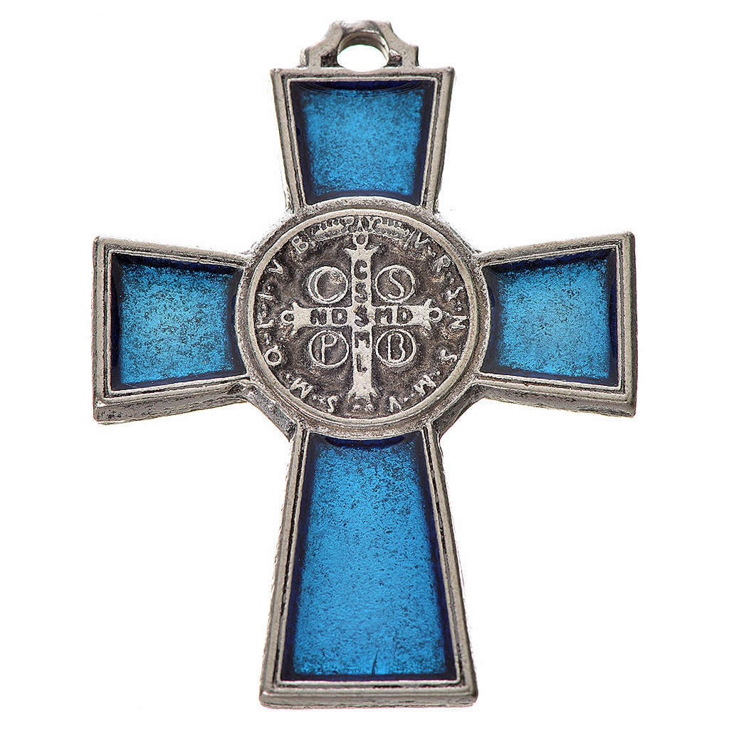 Croix Saint Benoît zamac émaillé bleu 4x3 cm 4