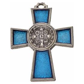 Croix Saint Benoît zamac émaillé bleu 4x3 cm s4