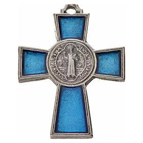 Croix Saint Benoît zamac émaillé bleu 4x3 cm s1