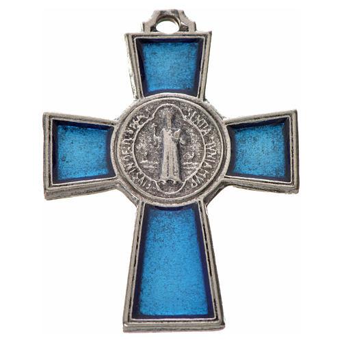 Croix Saint Benoît zamac émaillé bleu 4x3 cm 3