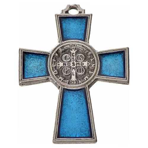 Croix Saint Benoît zamac émaillé bleu 4x3 cm 2