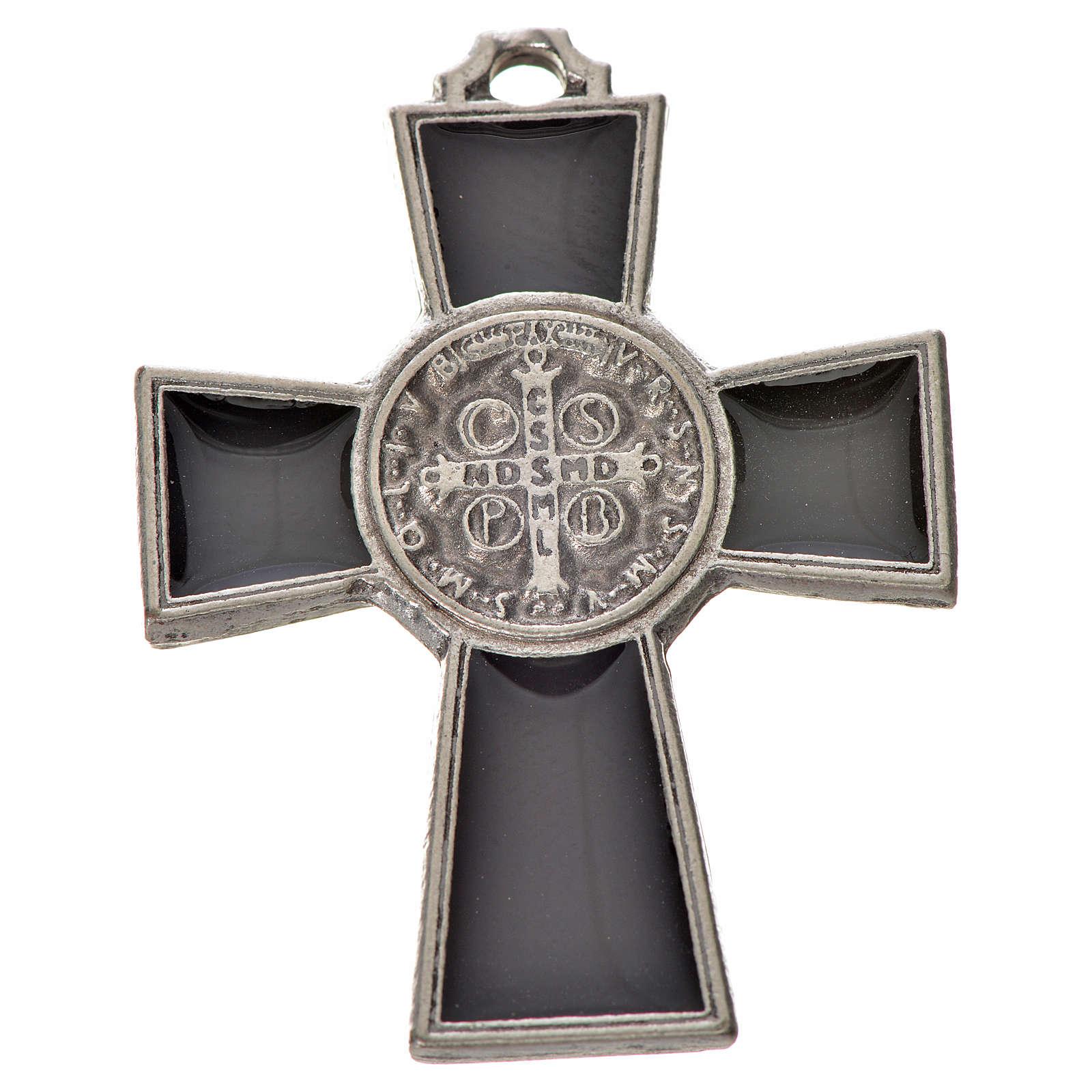 St. Benedict cross 4x3cm, in zamak and black enamel 4