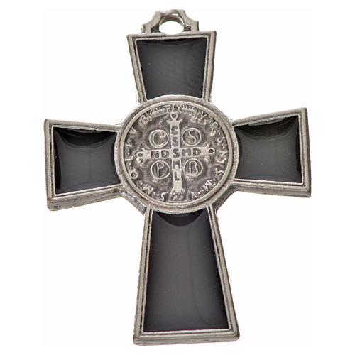 St. Benedict cross 4x3cm, in zamak and black enamel 2