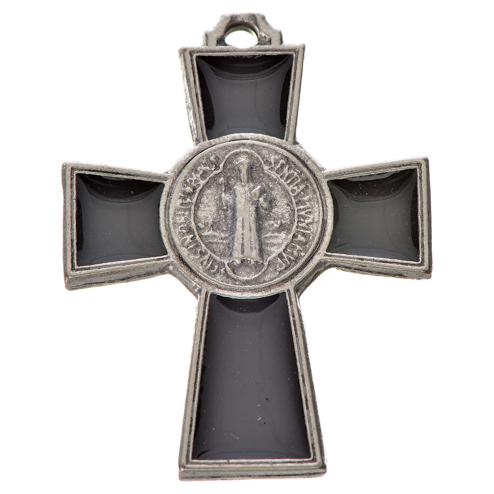 Croix Saint Benoît zamac émaillé noir 4x3 cm 4