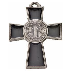 Croix Saint Benoît zamac émaillé noir 4x3 cm s1