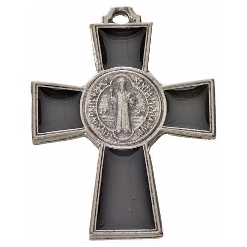 Croix Saint Benoît zamac émaillé noir 4x3 cm 1
