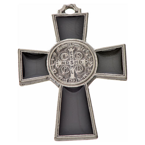 Croix Saint Benoît zamac émaillé noir 4x3 cm 2