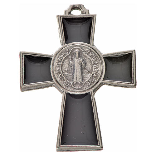 St. Benedict cross 4x3cm, in zamak and black enamel 1