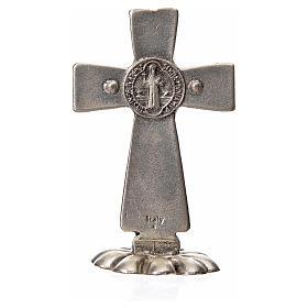 Croce San Benedetto da tavolo in zama 5x3 smalto bianco s6