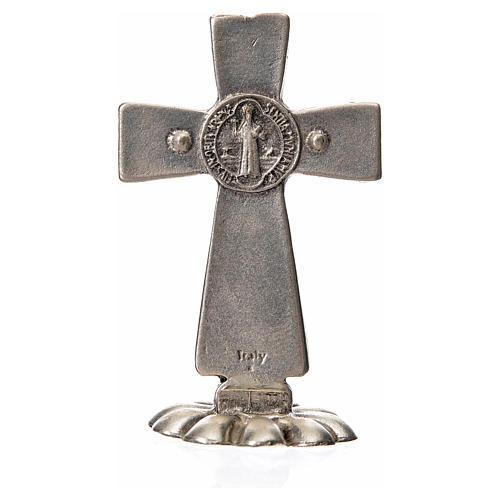 Croce San Benedetto da tavolo in zama 5x3 smalto bianco 6