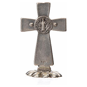 St. Benedict table cross 5x3cm, made of zamak and white enamel s6