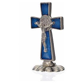 Croce San Benedetto da tavolo in zama 5x3 smalto blu s4