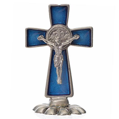 Croce San Benedetto da tavolo in zama 5x3 smalto blu 1