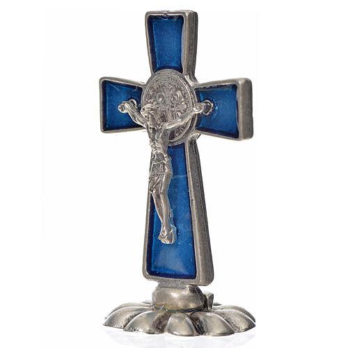 Croce San Benedetto da tavolo in zama 5x3 smalto blu 2