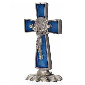 Cruz São Bento de mesa em zamak 5x3 cm esmalto azul escuro