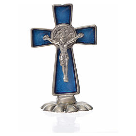 St. Benedict table cross 5x3cm, made of zamak and blue enamel s3