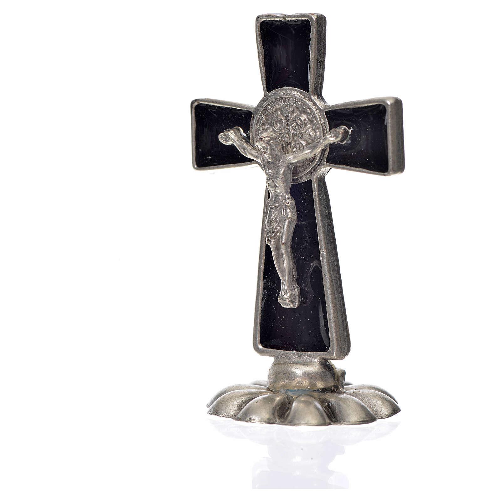 St. Benedict table cross 5x3cm, made of zamak and black enamel 4