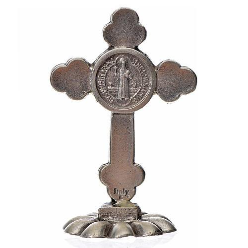Kreuz Sankt Benedikt dreilappig für Tisch weiß 5x3.5 cm